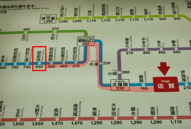 佐賀から肥前浜(路線図)