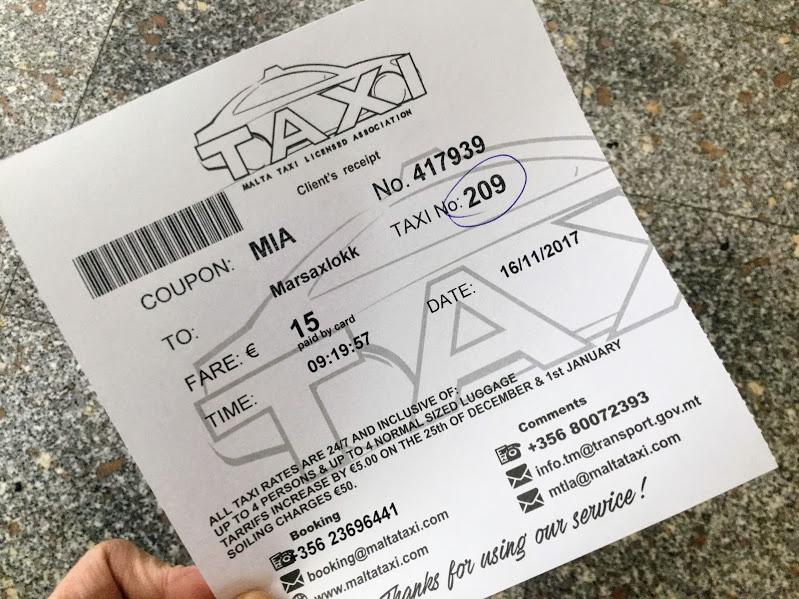 マルタのタクシーチケット